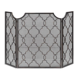 Charlie Silver Champagne Fireplace Screen