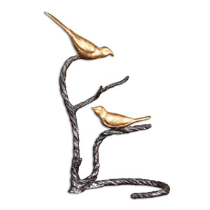 Metallic Gold Birds on a Limb Sculpture