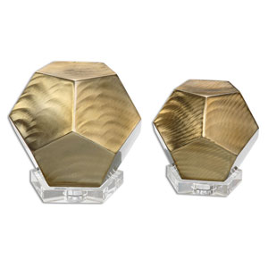 Pentagon Coffee Bronze Cubes, Set of Two