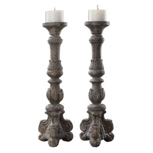Bogdan Antique Ivory Candleholders, Set of Two