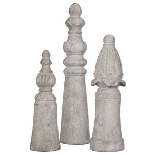 Asmund Aged Ivory Finials, Set of Three