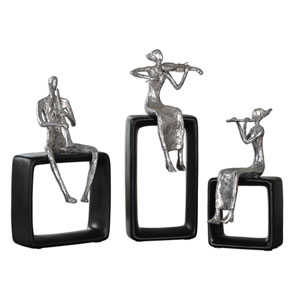 Polished Aluminum and Black Musical Ensemble, Set of Three
