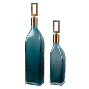 Annabella Teal Green and Coffee Bronze Bottle, Set of Two
