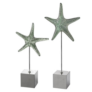 Starfish Silver Sculpture, Set of 2
