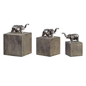 Tiberia Silver Elephant Sculpture, Set of 3