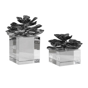 Indian Lotus Metallic Silver Flowers, Set of 2