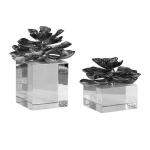 Indian Lotus Metallic Silver Flowers, Set of 2
