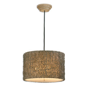 Light Knotted Rattan Drum Pendant