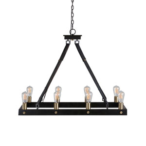 Marlow Antique Bronze Eight-Light Rectangle Chandelier
