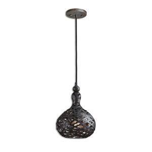 Alita Industrial Rust Black and Aged Silver One-Light Mini Pendant