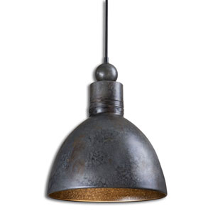 Adelino Forged Metal Rust and Silver One-Light Mini Pendant