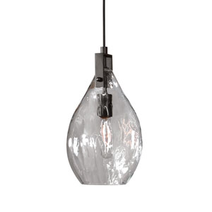 Campester Matte Black with Watered Glass One-Light Mini Pendant