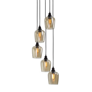 Aarush Five-Light Glass Cluster Pendant