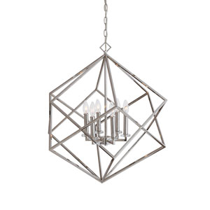Euclid Six-Light Nickel Cube Pendant