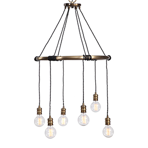 Milo Antique Brass Six-Light Ring Chandelier