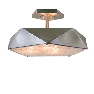 Tesoro Antique Nickel Three-Light Semi Flush Mount