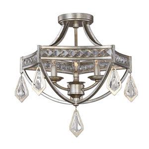 Tamworth Silver Champagne Three-Light Modern Semi Flush