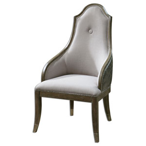 Sylvana Silvery Gray and Pine Wood Accent Chair