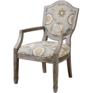 Valene Mineral Blue and Tan Accent Chair