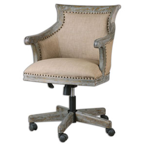 Kimalina Beige and Antique Brass Accent Chair