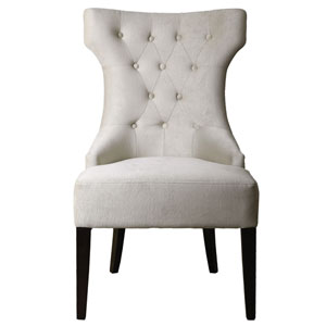 Arlette Antique White Tufted Wing Chair