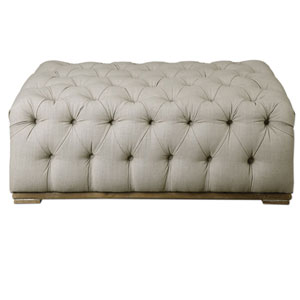 Kaniel Antique White Tufted Ottoman