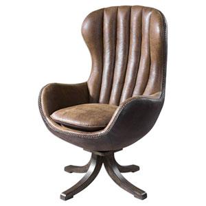 Garrett Toffee Brown Faux Suede Swivel Chair