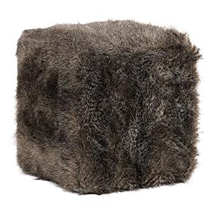Jayna Charcoal Brown Fur Ottoman