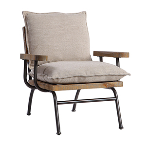Declan Weathered Oak and Neutral Accent Chair