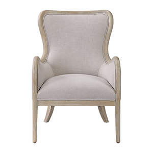 Shantel Oatmeal Gray Wing Chair