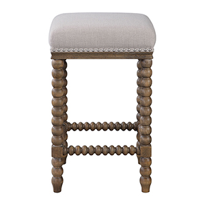 Pryce Ivory Wooden Counter Stool