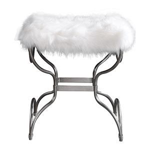 Channon White Fur Small Bench