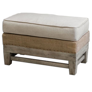 Schafer Bone White 19.25-Inch Ottoman