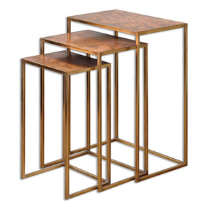 Copres Oxidized Copper Nesting Table, Set Of Three