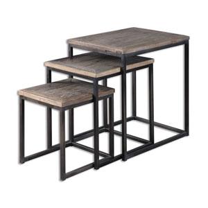Bomani Elm Wood Nesting Tables, Set of Three