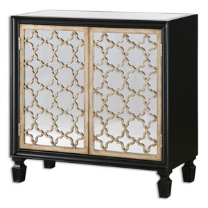 Franzea Burnished Silver Mirrored Console Cabinet