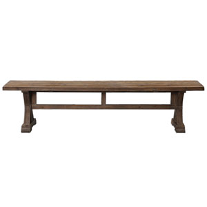 Stratford Stony Gray Wash Salvaged Wood Bench