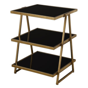 Garrity Antique Gold and Black Accent Table