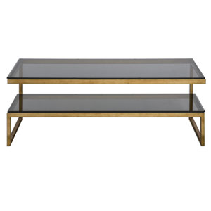Adeen Antique Gold and Smoke Gray Glass Coffee Table