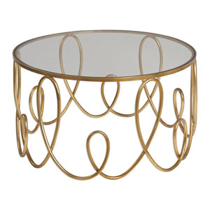 Brielle Antique Gold Glass Coffee Table