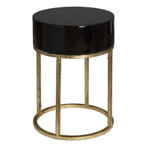 Myles Antique Gold and Black Accent Table