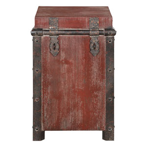 Isaac Wine Red Accent Table