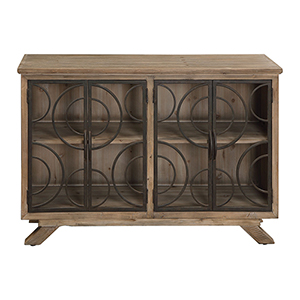 Tatum Weathered Fir Wood and Aged Bronze Accent Cabinet