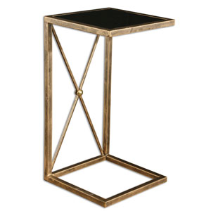Zafina Gold Side Table With Black Tempered Glass Top