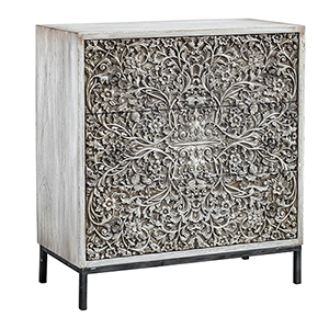 Marina Carved Aged Ivory Accent Chest