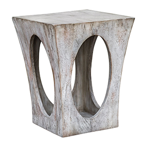 Vernen Aged White Accent Table