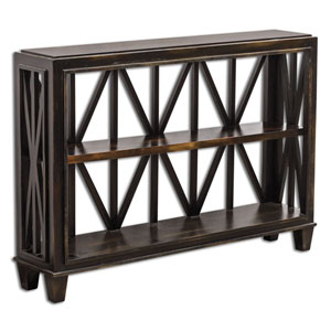 Asadel Mango Wood and Black Console Table