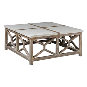 Catali Ivory Limestone and Oatmeal Washed Wood Coffee Table