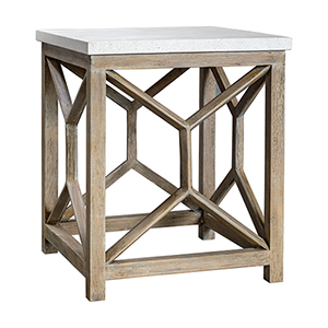 Catali Ivory Limestone and Oatmeal Washed Wood End Table