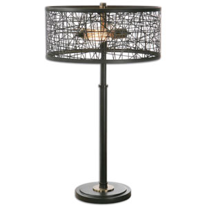 Alita Rustic Black Two-Light Table Lamp with Drum Shade